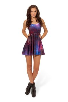 Galaxy Purple Reversible Skater Dress by Black Milk Clothing $85AUD
