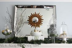 Christmas mantel composed of metallic, blingy neutrals at View Along the Way