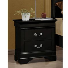Louis Philippe Night Stand in black with Antique Brass Metal Handle