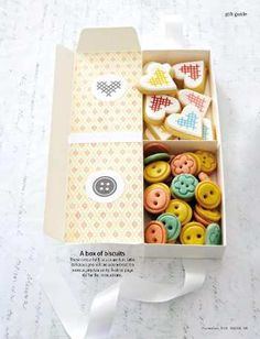 Box of 'button' and 'embroidery' heart biscuits...