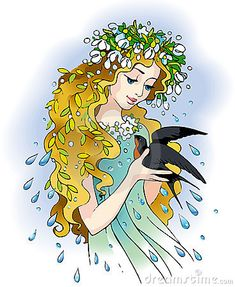 Illustration about Vector drawing. Girl-Spring with a wreath of snowdrops holds a messenger of heat - swallow. Illustration of drawing, branches, face - 13501002 Illustrations, Illustration Art, Crochet Towel, Technology Wallpaper, Ukrainian Art, Beautiful Gif, Fairy Princesses, Indian Gods, Bird Pictures