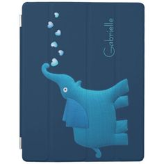 Protect your iPad 2/3/4, iPad Air, iPad mini with this cute and customizable blue elephant flowing hearts.