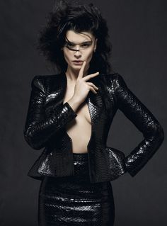 Crystal Renn in Gucci python leather suit