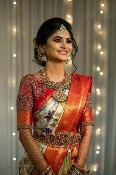 Wedding Saree Blouse Designs, Pattu Saree Blouse Designs, Half Saree Designs, Fancy Blouse Designs, Saree Wedding, Wedding Bride, Bridal Sarees South Indian, Indian Bridal Outfits, Indian Bridal Fashion