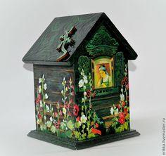 """Купить Чайный домик """"Сказы Бажова"""" - тёмно-зелёный, чайный домик, домик для чая, Декупаж"""
