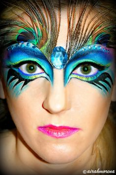 I'm just gonna keep this here to emulate later.... peacock face paint Halloween Makeup