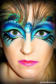 peacock face paint Halloween Makeup
