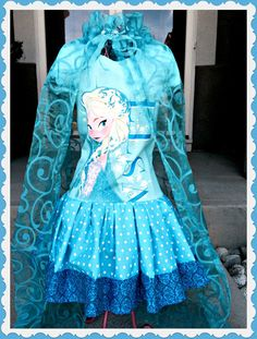 girls dress made from aqua blue FROZEN by BlossomBlueBoutique, $65.99