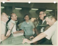 From left: Charlie Duke, Alan Bean, Bill Anders - unknown NASA controller/bigwig? - and John Young, in front Space Astronauts, Mission Control, Nasa History, Apollo, Astronomy, Duke, Mercury, Gemini, Superstar
