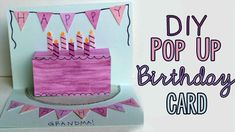 Happy Birthday Grandpa Cards New Diy Pop Up Birthday Card 🎂 Diy Birthday Cards For Mom, Happy Birthday Grandpa, Happy 16th Birthday, Birthday Cake Card, Homemade Birthday Cards, Birthday Card Design, Birthday Diy, Birthday Recipes, Birthday Gifts