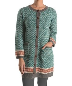 Love this Green & Red Fair Isle Duster on #zulily! #zulilyfinds