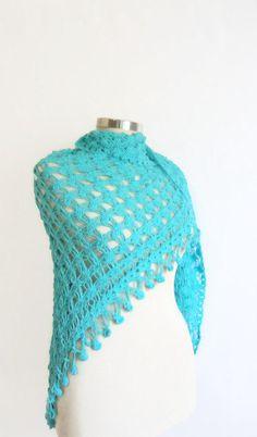 CROCHET SHAWL organic cottondenimblue shawlscarf by modelknitting