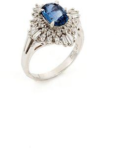 http://elle.shopstyle.com: Estate Platinum, Diamond, & Sapphire Geometric Ring