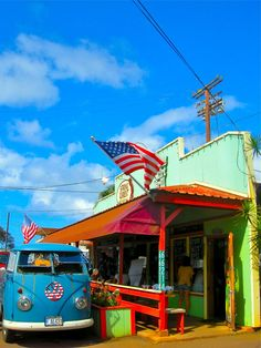 The vivid colors of Haleiwa- surfing hamlet of the North Shore of Oahu.