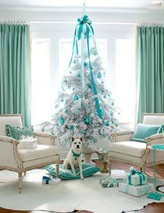Tiffany Blue Christmas - minus the white/silver christmas tree. Turquoise Christmas, Silver Christmas, Noel Christmas, Modern Christmas, Beautiful Christmas, Christmas Room, Coastal Christmas, Elegant Christmas, Outdoor Christmas