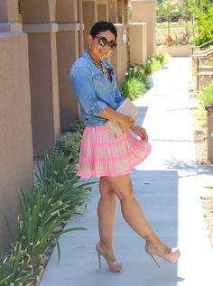 Neon Striped Skirt and Denim Shirt