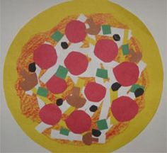 Shape Collage Pizzas Lesson Plan: Sculpture Activities and Lessons for Children and Kids: KinderArt ® Kindergarten Art Lessons, Art Lessons Elementary, Kindergarten Sculpture, Shape Collage, Shape Art, Pizza Kunst, Primary School Art, 2nd Grade Art, Grade 2