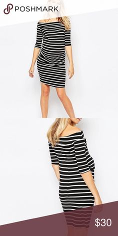 ASOS Maternity Stripe Off Shoulder Bardot Dress New Look by ASOS Maternity black & white off the shoulder bardot dress with ruched sides. Very comfortable stretch fabric! The dress is brand new in the shipping bag but ASOS has not attached tags to the dress. Sizes are listed in US sizes.                                                      Visit our shop to see other trendy and modern maternity & baby items!    ✖️ trades  ✖️ try-on's  ✖️ low-ball offers please!  ✔️ bundle discount offered…