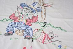 Vintage Baby Coverlet Hand Embroidered Cat Going by soldiersuzanne, $35.00