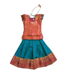 Excited to share the latest addition to my shop: Pattu Pavadai Red and Peacock Blue Designer Langa for Baby Girls – 6 Months tp 10 Years - Cotton Frocks For Kids, Kids Frocks, Cute Baby Girl Outfits, Cute Baby Clothes, Baby Girls, Indian Baby Girl, Kids Lehenga Choli, Raw Silk Lehenga, Kids Blouse Designs