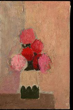 Bouquet d'Hortensias au fond orange et gris⋅2002—92×60 cm, Bernard Cathelin - official website