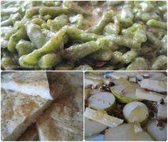 schiacciatina al rosmarino home made, pera con noci e mostarda, spatzle agli spinaci con formaggio e noce moscata