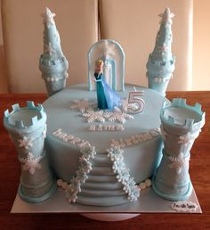 Easy Castle Cake, Frozen Castle Cake, Frozen Cake, Frozen Themed Birthday Cake, Castle Birthday Cakes, 4th Birthday Cakes, Library Cake, Drop Cake, Princess Cupcake Toppers