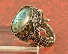 ON SALE SALE - Labradorite Ring Sterling Silver Ring Spectrolite Ring Wire Woven Ring Size 7 Ring Gemstone Ring Blue Green Gold flash Silver - $144.00 USD