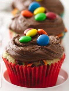Get the party really started with these wild and colorful cupcakes studded with M & Ms. If you're making them for a holiday, coordinate the candy colors to your decorations—think red and green for Christmas, or pastels for Easter. Or, let the kids decorate their own cupcakes with candies of their choice.