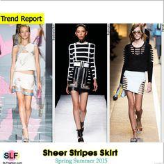 Sheer Stripes SkirtTrend for Spring Summer 2015. Versace, Balmain, and Fendi  #Spring2015 #SS15 #Fashion