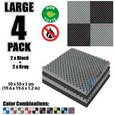 New 4 Pcs Black and Gray Bundle Egg Crate Convoluted Acoustic Tile Panels Sound Absorption Studio Soundproof Foam Foam Panels, Tile Panels, Studio Soundproofing, Bass Trap, Egg Crates, Recording Studio Home, Sound Absorption, Sound Absorbing, Upholstery Foam