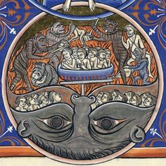 Hellmouth, Psalter of St Louis and Blanche of Castile, c. 1225-1250 (Paris, Arsenal, Ms1186, f. 171v)
