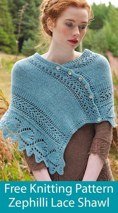 Free Knitting Pattern for Zephilli Shawl - Rectangular wrap knit in a 16 row repeat including sawtooth edge leaf lace and body of lace and stockinette.Use written instructions or charts. Designed by Louisa Harding. Chunky Knitting Patterns, Shawl Patterns, Lace Patterns, Lace Knitting, Knit Crochet, Crochet Patterns, Finger Knitting, Knitting Tutorials, Knit Cowl