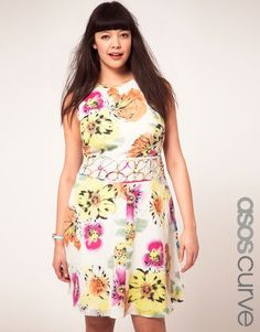 summer floral with cut-out waist