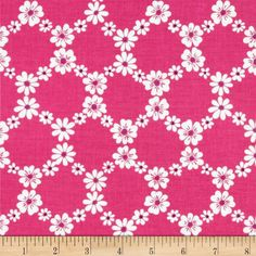 Designed for Michael Miller, this cotton print fabric is perfect for quilting, craft projects, apparel and home décor accents. Colors include white and purple on a hot pink background.