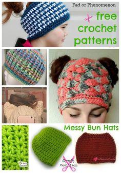 Messy Bun Hat Phenomenon – 10 Free crochet patterns | CraftCoalition.com http://www.craftcoalition.com/messy-bun-hat-phenomenon-10-free-crochet-patterns/