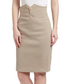 Look at this #zulilyfind! Tan Button Pencil Skirt by Avital #zulilyfinds