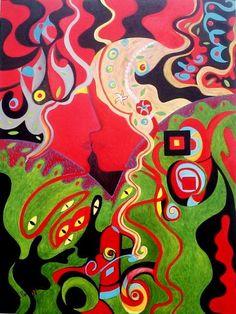 O segredo dos segredos - 60 X 80 cm  Da série: NA TERCEIRA MARGEM, AMOR E DESEJOS. O segredo, a embriaguez. O desejo louco permanece entre formas e cores. A complementação do verde e do vermelho na obra assim como nas tradições, estão relacionadas às divindades do amor. Faz parte de um projeto, já em desenvolvimento, que mostra o amor e o desejo na terceira margem, no entrelugar, a virtualidade. As obras mostram rostos que se o...