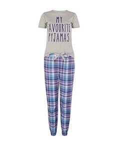 Teens Purple Slogan Check Print Pyjama Set | New Look