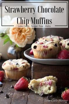 Low carb strawberry chocolate chip muffins are a great sugar-free muffin made with coconut flour and the perfect keto breakfast.