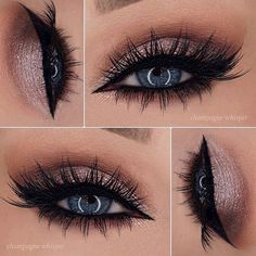 champagne shimmer, black winged liner and lots o' lashes - LOVE!! ~ we ❤ this! moncheriprom.com