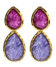 A one-two punch of purple! Dual-hue for twice the beauty, these candy-colored teardrops are all girly good looks and statement-making style.