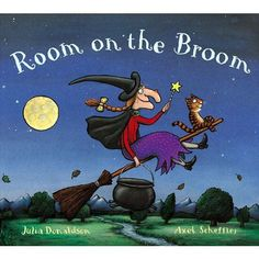 ROOM ON THE BROOM by Julia Donaldson with illustrations by Axel Scheffler. Any time of year! Donaldson is one of the BEST rhyming picture book authors out there and the story is fantastic, too. Halloween Books For Kids, Halloween Pictures, Halloween Crafts, Spooky Halloween, Halloween Stories, Paper Halloween, Spooky Stories, Halloween Wreaths, Halloween 2014