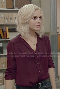 Liv's burgundy blouse with black piping in iZombie. Outfit Details: http://wornontv.net/52704/ #iZombie