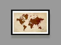 WorldMap Graphic Poster Print 11x17 Size - Old paper Aged & Burnt - Wanderlust, Adventures, World, Travel via @Etsy @Pinterest @musicandartcous