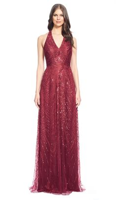 Red Embellished Halter Neck Gown - Aluguer de vestidos David Meister - Frente