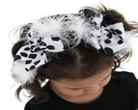 Cowgirl Black & White Marabou Girls Hair Bow