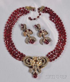 Rare Prototype Necklace with Pendant, Miriam Haskell, c. 1960