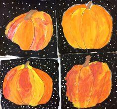 Halloween Painted Pumpkins- 2nd Grade Art Lesson by ArtTeacherinLA.com
