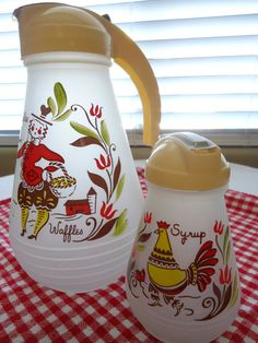 Vintage 50's Hazel Atlas Waffle Batter pitcher and Syrup dispenser